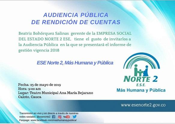 Audiencia Pública de Rendición de Cuentas 2018 de la ESE Norte 2
