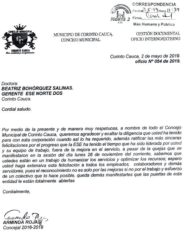 Concejo de Corinto exaltó gestión de Beatríz Bohórquez y la ESE Norte 2 en ese municipio