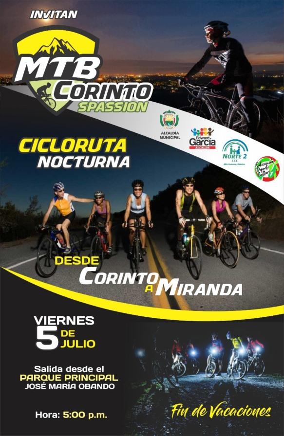 Ciclo-ruta nocturna desde Corinto a Miranda, este viernes 5 de Julio