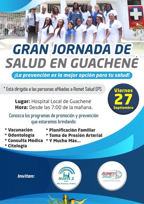 Gran Jornada de Salud este viernes 27 de septiembre en Guachené