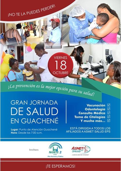 Se invita a participar de esta nueva Jornada de Salud en Guachené