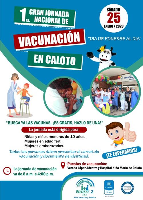 """El sábado 25 de enero es """"Día de Ponerse al Día"""" con las vacunas, en Caloto"""