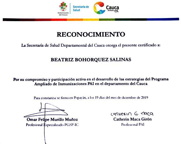 ESE Norte 2 recibió reconocimiento de la Secretaría de Salud del Cauca
