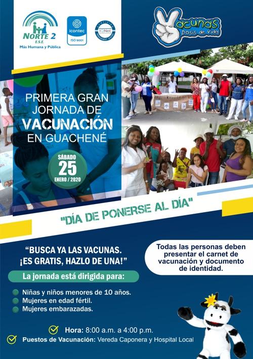 Primera Gran Jornada de Vacunación en Guachené - Enero de 2020 - ESE Norte 2