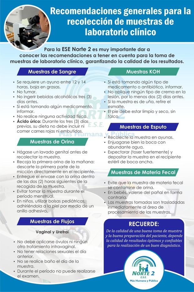 Recomendaciones generales para la recolección de muestras de laboratorio clínico - ESE Norte 2