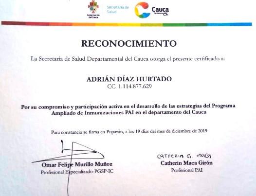Reconocimiento a Adrián de la ESE Norte 2 por la Secretaría de Salud del Cauca