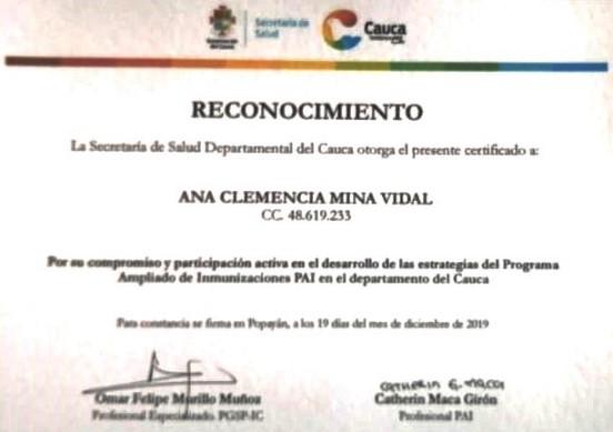 Reconocimiento a Ana Clemencia Mina de la ESE Norte 2 por la Secretaría de Salud del Cauca