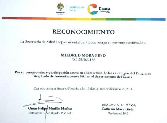 Reconocimiento a Mildred Mora Pino de la ESE Norte 2 por la Secretaría de Salud del Cauca