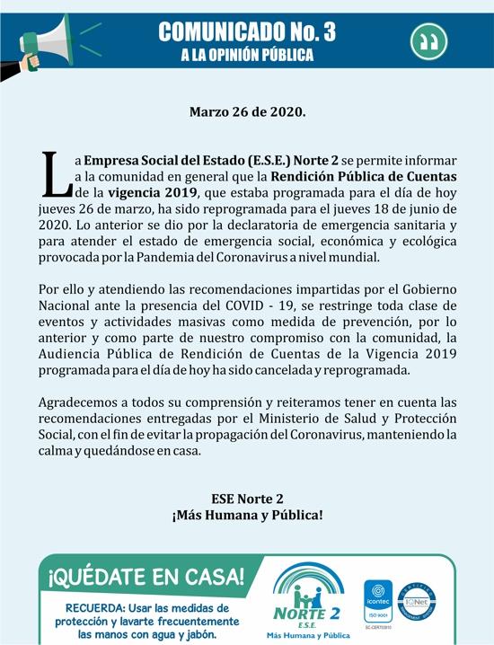 Comunicado No. 3 a la opinión pública - Rendición de cuentas 2019 - ESE Norte 2