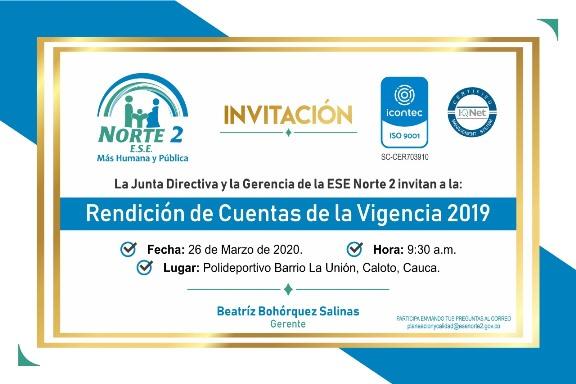 Invitación a Rendición de Cuentas de la ESE Norte 2 - Vigencia 2019