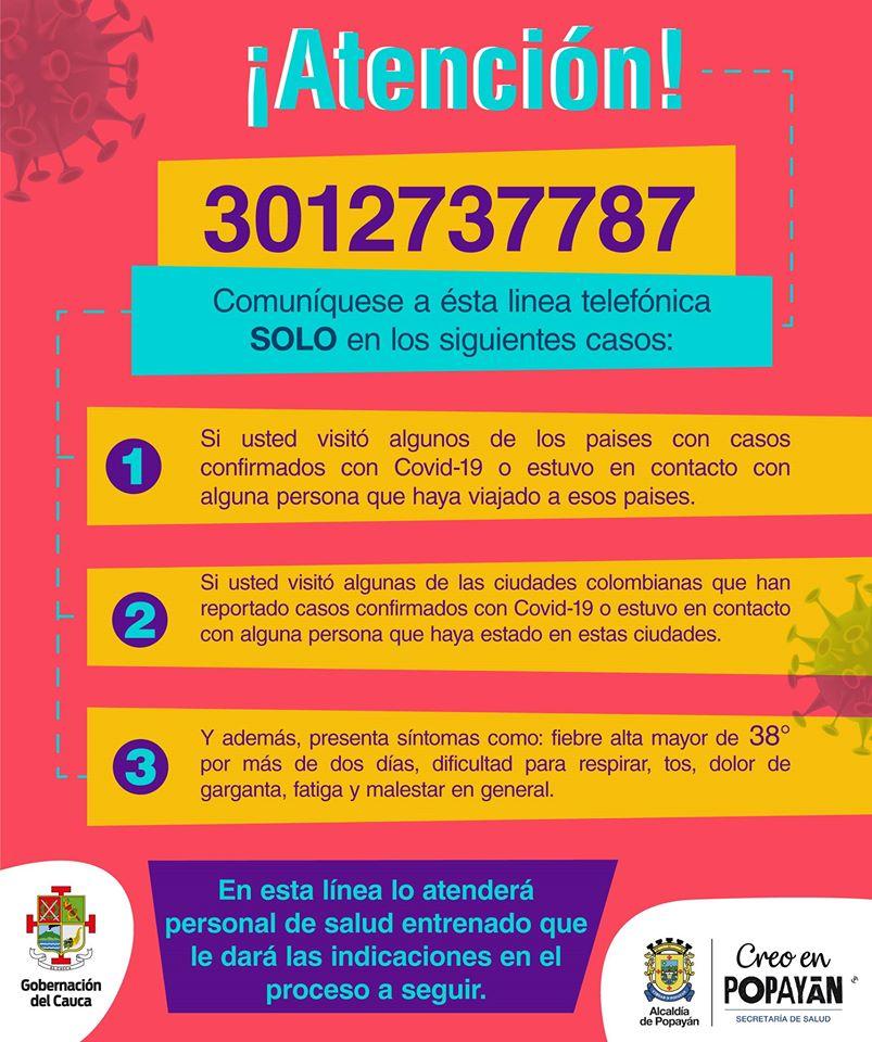 Conoce la Línea Coronavirus: Secretaría de Salud del Cauca