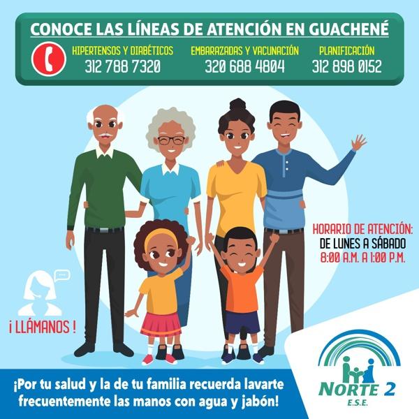 Conoce nuestras Líneas de Atención en Guachené: ESE Norte 2