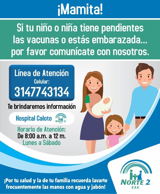 Líneas de Atención para Vacunación en Hospital de Caloto - ESE Norte 2
