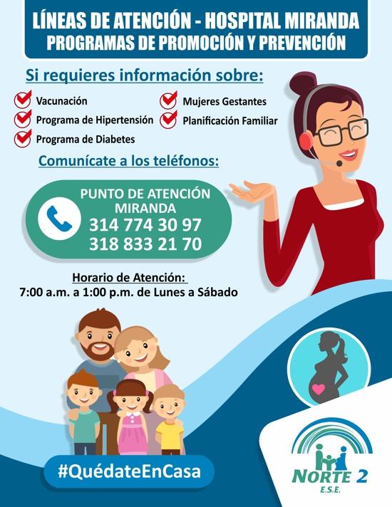 Lineas de Atención - Programas de Promoción y Prevención - Hospital de Miranda