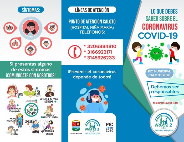 Habitantes de Caloto: ¡Prevenir el coronavirus está en sus manos!